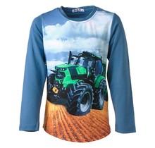 Jongens shirt blauw lange mouwen met tractor groen