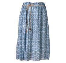 Dames plissé rok kleine bloemen touwtjes lichtblauw kort