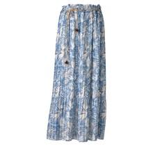 Dames plissé rok bladeren touwtjes blauw lang