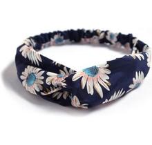 Haarband marine met bloemenprint