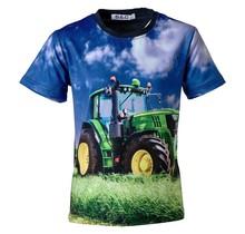 Jongens shirt korte mouwen marine met tractor groen/geel