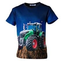 Jongens shirt korte mouwen marine met tractor groen/rood