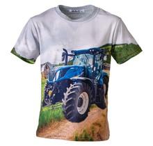 Jongens shirt korte mouwen grijs met tractor blauw/geel