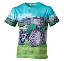 Jongens shirt korte mouwen turquoise met tractor groen