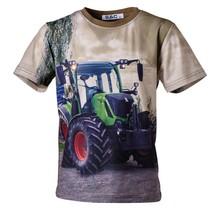 Jongens shirt korte mouwen bruin met tractor groen/rood