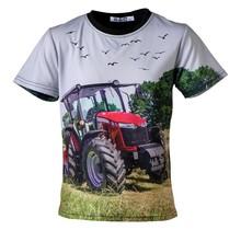 Jongens shirt korte mouwen zwart met tractor rood