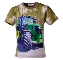 Jongens shirt korte mouwen groen/bruin met tractor groen/geel