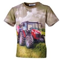 Jongens shirt korte mouwen groen/bruin met tractor rood
