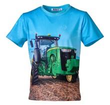Jongens shirt korte mouwen lichtblauw met tractor groen/geel