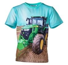 Jongens shirt korte mouwen turquoise met tractor groen/geel