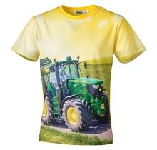 Jongens shirt korte mouwen geel met tractor groen/geel