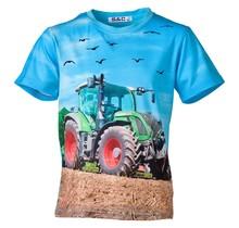 Jongens shirt korte mouwen lichtblauw met  tractor groen/rood