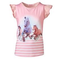 Meisjes shirt paarden roze kapmouw