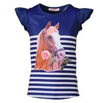 Meisjes shirt paarden marine kapmouw