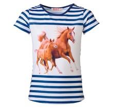 Meisjes shirt paarden gestreept marine