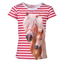 Meisjes shirt paarden gestreept rood