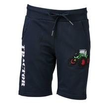 Jongens korte broek marine met  tractor groen/rood