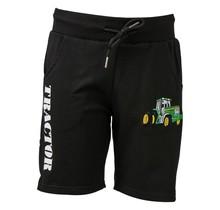 Jongens korte broek zwart met  tractor groen/geel