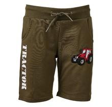 Jongens korte broek groen  met  tractor rood