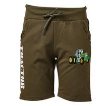 Jongens korte broek groen met  tractor groen/geel