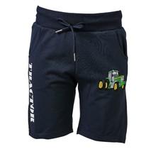 Jongens korte broek marine met  tractor groen/geel