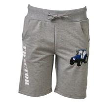Jongens korte broek grijs met  tractor blauw/wit
