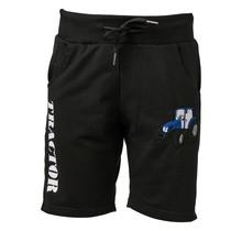 Jongens korte broek zwart met  tractor blauw/wit