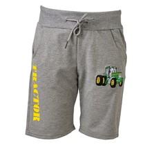 Jongens korte broek grijs met  tractor groen/geel