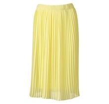 Dames plisse rok lichtgeel kort