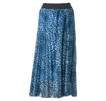 Dames plisse rok panterprint midden blauw glitterband