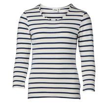 Dames shirt basic offwhite/marine gestreept, 3/4e mouw
