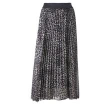 Dames plisse rok panterprint grijs met glitterband