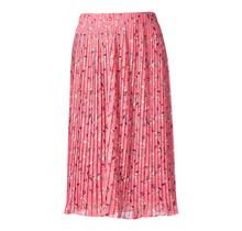 Dames rok plisse bladeren print roze