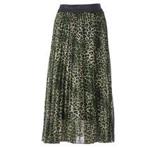 Dames plisse rok panterprint groen met glitterband