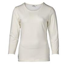 Dames shirt basic off white met marine accent, 3/4e mouw