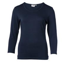 Dames shirt basic marine met off white accent, 3/4e mouw