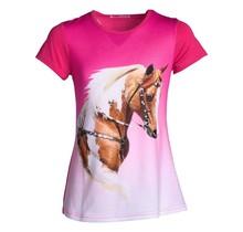 Meisjes shirt paarden fuchsia/roze km