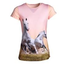 Meisjes shirt paarden roze km