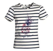 Meisjes shirt offwhite/marine ananas print