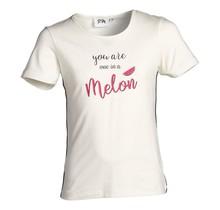 Meisjes shirt off white meloen print