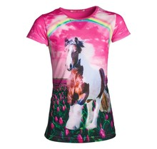 Meisjes shirt paarden fuchsia km