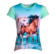 Meisjes shirt paarden mint km