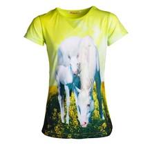 Meisjes shirt paarden neon geel km