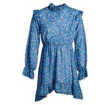 Meisjes jurk blauw met bloemenprint