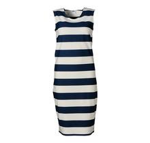 Dames milano jurk zm marine/off white - lang