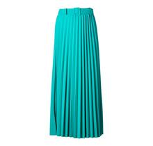 Dames rok Brede plisse Mint met riem lang