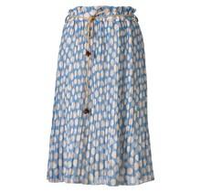 Dames plissé rok blauw met stippen en touwtjes - kort
