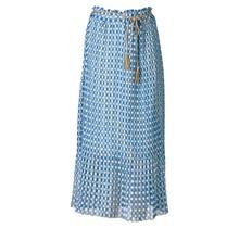 Dames plissé rok bloemen touwtjes blauw lang