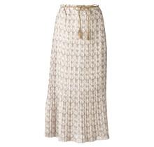 Dames plissé rok  beige met witte bloemen en touwtjes - lang
