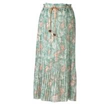 Dames plissé rok groen met bladeren en touwtjes - lang